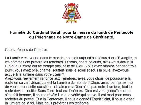 Homélie du Cardinal Sarah